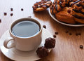 Cup of coffee and chocolate cookies Stock Photo
