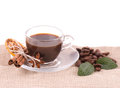 Cup of coffee on coffee beans Stock Photo