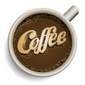 Cup of coffee with Coffee text. Royalty Free Stock Photos