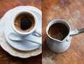 Cup of coffee collage with Stock Photo