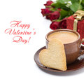 Cup of coffee cookie in the shape of heart gift and roses for valentine s day isolated Stock Photos