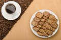 A cup of coffee and cookies Royalty Free Stock Photos