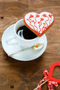 Cup of coffee and cookies heart food holiday Royalty Free Stock Images