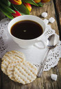 Cup of coffee and cookies on the holiday table Royalty Free Stock Images