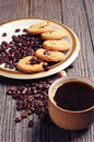 Cup of coffee and cookies plate chocolate Stock Photos