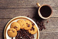 Cup of coffee and cookies top view on plate chocolate Royalty Free Stock Images