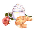 Cup of coffee with cream, croissant, rose flower. Watercolor