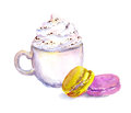 Cup of coffee with cream, macaroons cakes. Watercolor