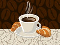 Cup of coffee with croissants Royalty Free Stock Images
