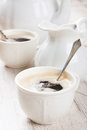 Cup of coffee cubs and milk jug Royalty Free Stock Photo