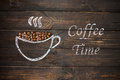 Cup of coffee drawn with chalk on the old vintage wooden board. Royalty Free Stock Photo