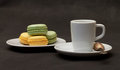 Cup coffee espresso and macaroon Royalty Free Stock Images