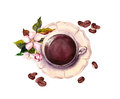 Cup of coffee, flower, coffee beans. Watercolor.