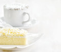 Cup of coffee and fresh cake Stock Photography
