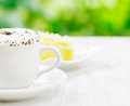 Cup of coffee and fresh cake Stock Image
