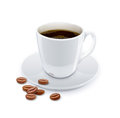 Cup of coffee with grain eps vector illustration on white background Royalty Free Stock Images