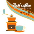 Cup of coffee and grinder on a white background retro vector illustration Stock Photography
