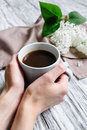 Cup of coffee in hands Royalty Free Stock Photo