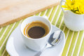A cup of coffee or hot coffee on wooden table soft tone focu and focus Royalty Free Stock Image