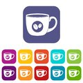 Cup of coffee icons set flat