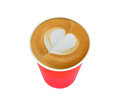 Cup of coffee latte art paper cafe latte isolated on white background red Stock Photos