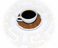 Cup of coffee in the middle a labyrinth from cubes the refined sugar Royalty Free Stock Image
