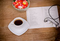 Cup of coffee moments relaxation with and good book Royalty Free Stock Photo