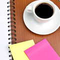 Cup of coffee and office supplies a on white background Stock Images