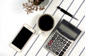 Cup of coffee with office tools and smart phone,top view Royalty Free Stock Photo