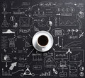 Cup of coffee over a black background the with business plan concept drawing around Royalty Free Stock Photography