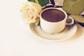 Cup of coffee and rose Royalty Free Stock Images