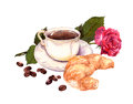 Cup of coffee, rose flower and croissant. Watercolor