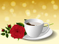 Cup of coffee and rose Royalty Free Stock Photo