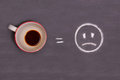 cup of coffee and sad smiley drawn with chalk on the table Royalty Free Stock Photo