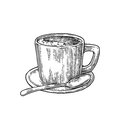 Cup of coffee with saucer, spoon. Hand drawn sketch style. Vintage black vector engraving illustration for label, web Royalty Free Stock Photo