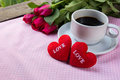 Cup of coffee, shape heart text love and rose Royalty Free Stock Photo