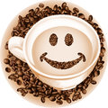 Cup coffee smile scalable vectorial image representing a isolated on white Stock Photos