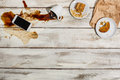 Cup of coffee spilled on wooden table Royalty Free Stock Photo