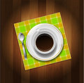 Cup of coffee, spoon and napkin Royalty Free Stock Photography