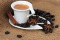 Cup of coffee and star anise Royalty Free Stock Photo