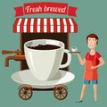 A cup of coffee stylized street cafe on wheels, barista , cartoon, vector illustration