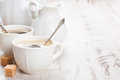 Cup of coffee with sugar cubs and milk jug Royalty Free Stock Photo