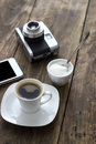 Cup of coffee with sugar on wooden table close up Royalty Free Stock Photography