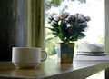 Cup of coffee on table Royalty Free Stock Photo