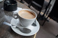 cup of coffee in terrace of french bistro Royalty Free Stock Photo