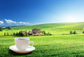 Cup coffee and tuscany landscape italy Stock Photography