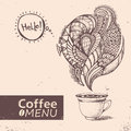 Cup of coffee. Vector illustration. Menu design Royalty Free Stock Photo