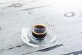 Cup of coffee on white table espresso Royalty Free Stock Photography