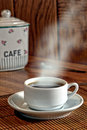 Cup of Coffee on Wood table Royalty Free Stock Photo