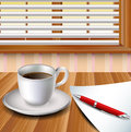 Cup of coffee on a wood table with paper and red pen eps Royalty Free Stock Photography